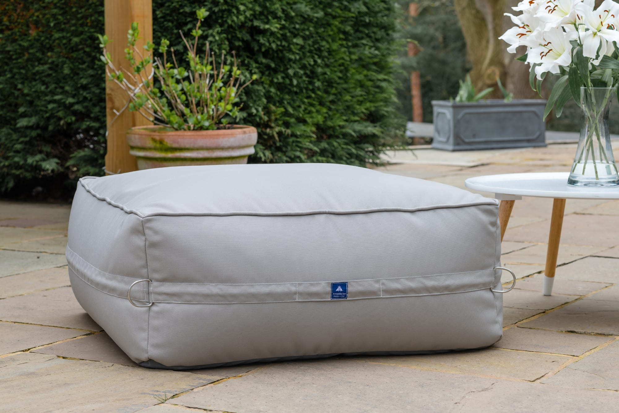 Monaco Modular Bean Bag Ottoman in Pumice Grey with Pumice Straps