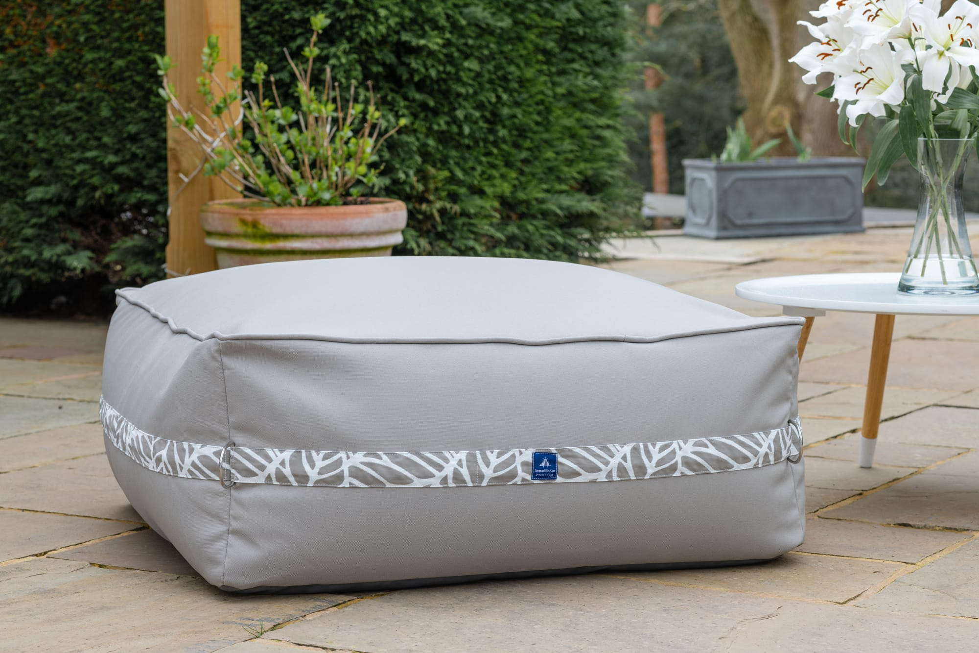 Monaco Modular Bean Bag Ottoman in Pumice with Palm Patterned Straps