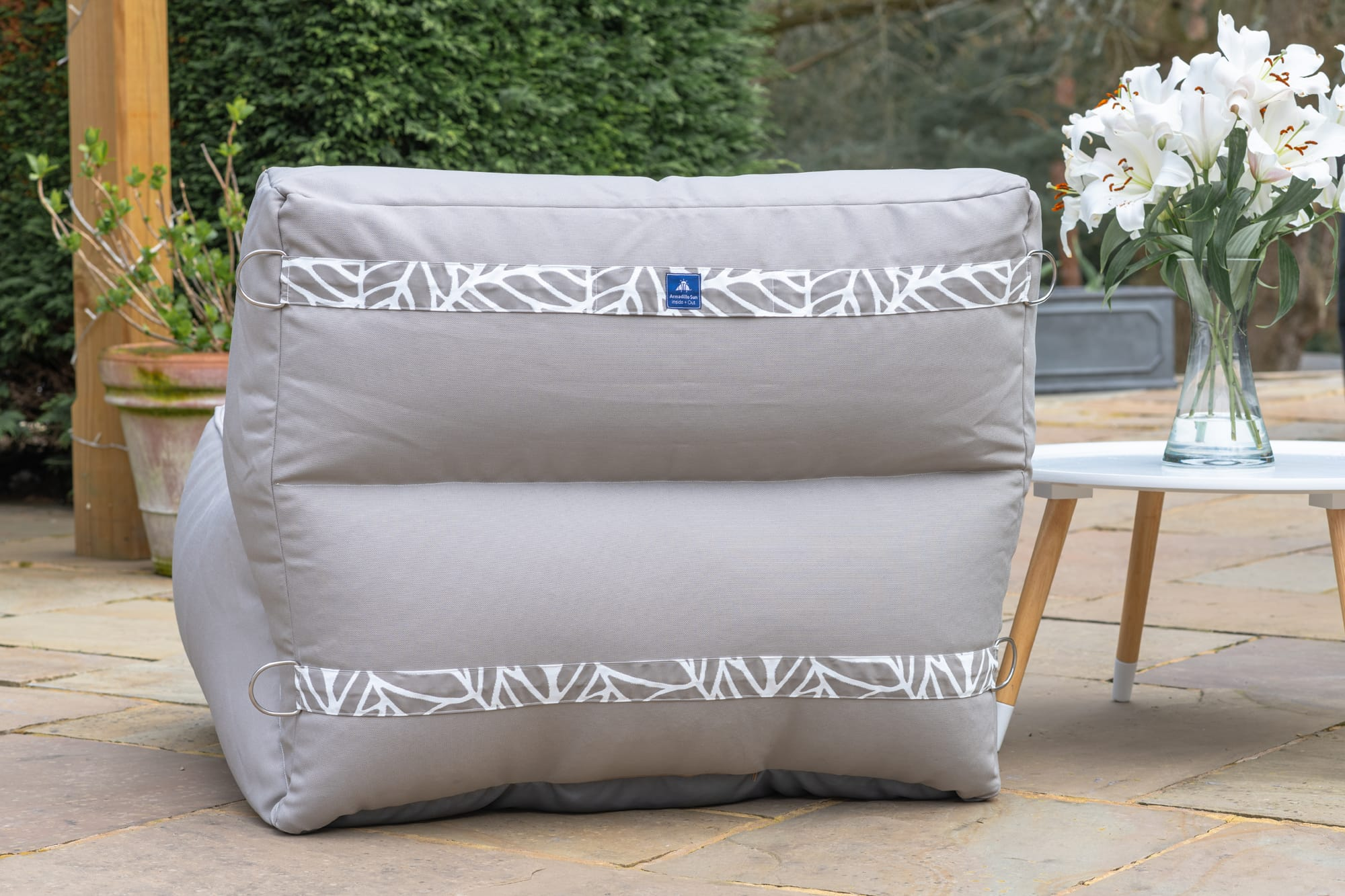 Adult Monaco Modular Bean Bag Chair in Pumice Grey with Palm Patterned Straps
