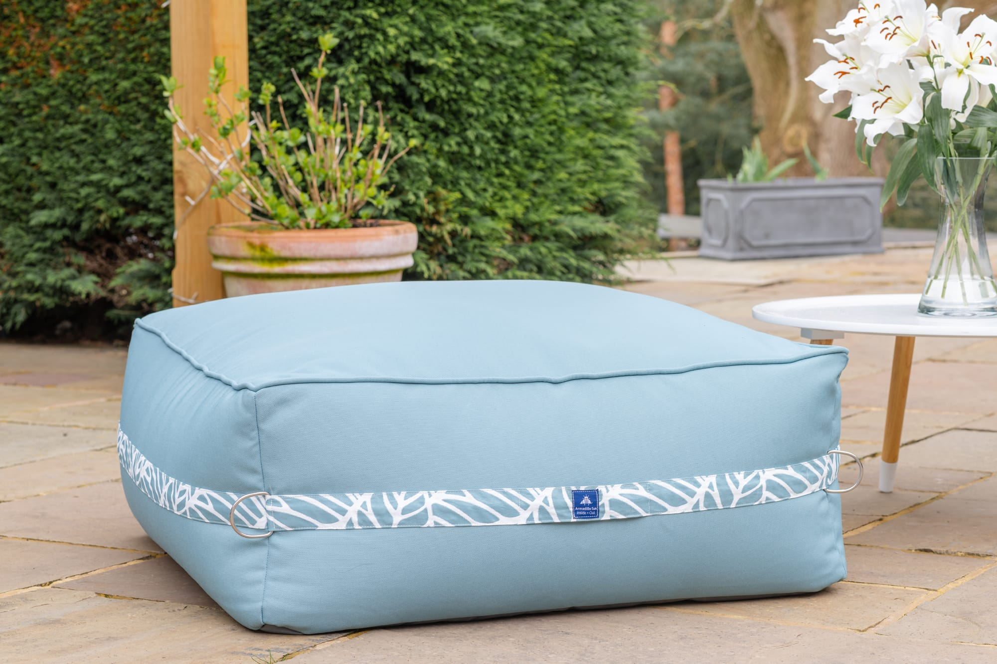 Monaco Modular Bean Bag Ottoman in Ocean Blue with Palm Patterned Straps