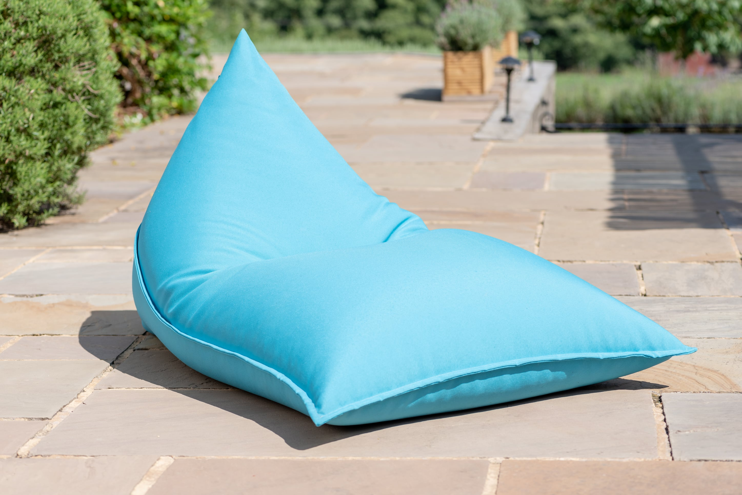 Armadillo Sun bean bag chair in turquoise blue fabric