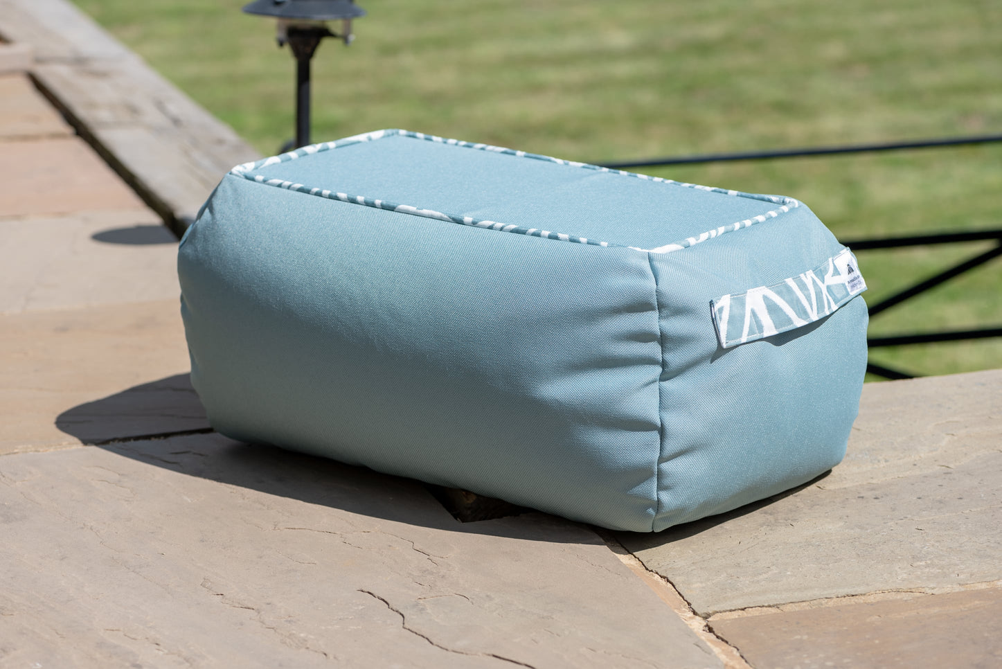Armadillo Sun bean bag table in pale ocean blue fabric