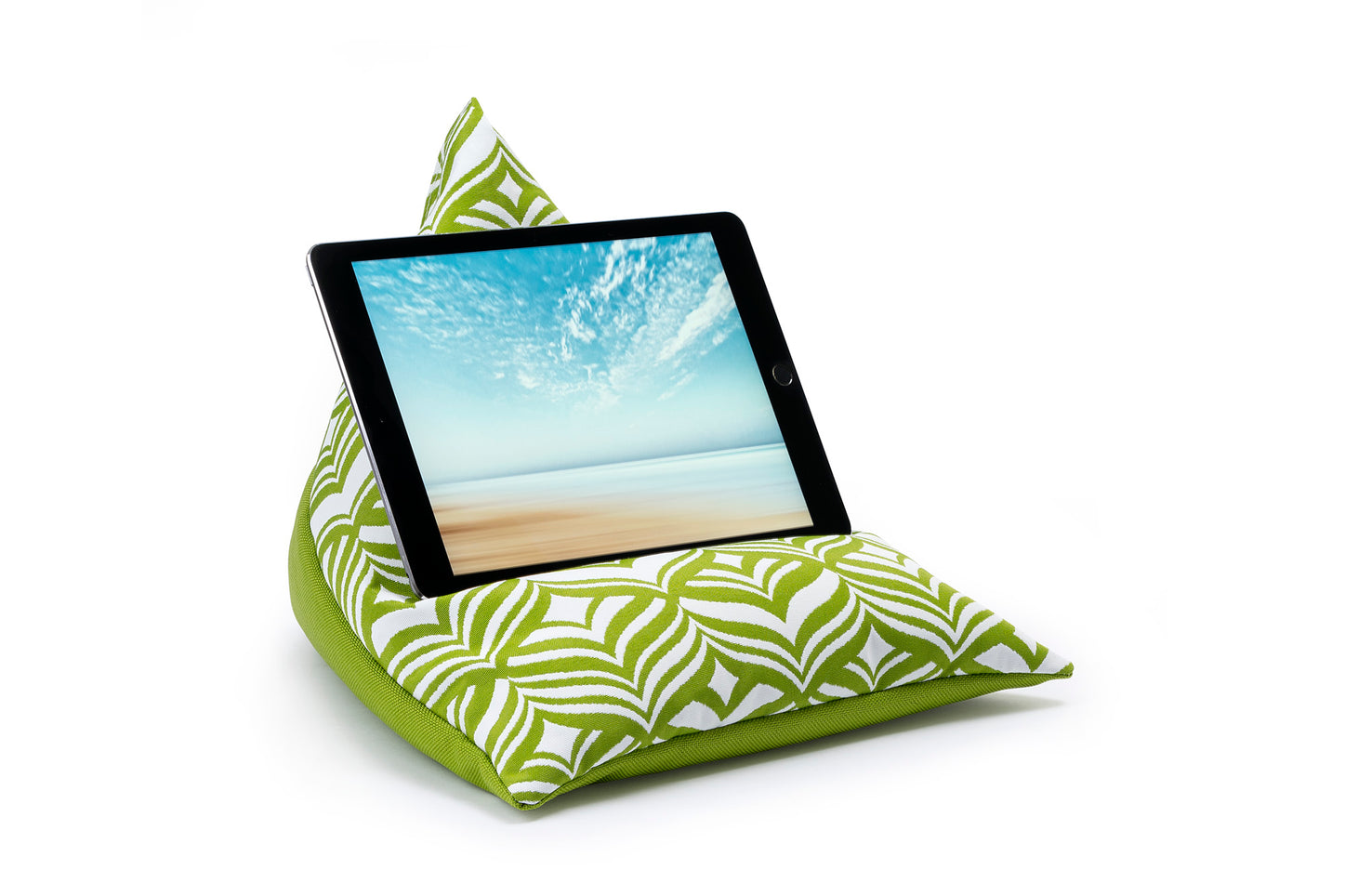 iPad, Tablet & eReader Bean Bag Stand in Tulip Green/Green Base armadillosun