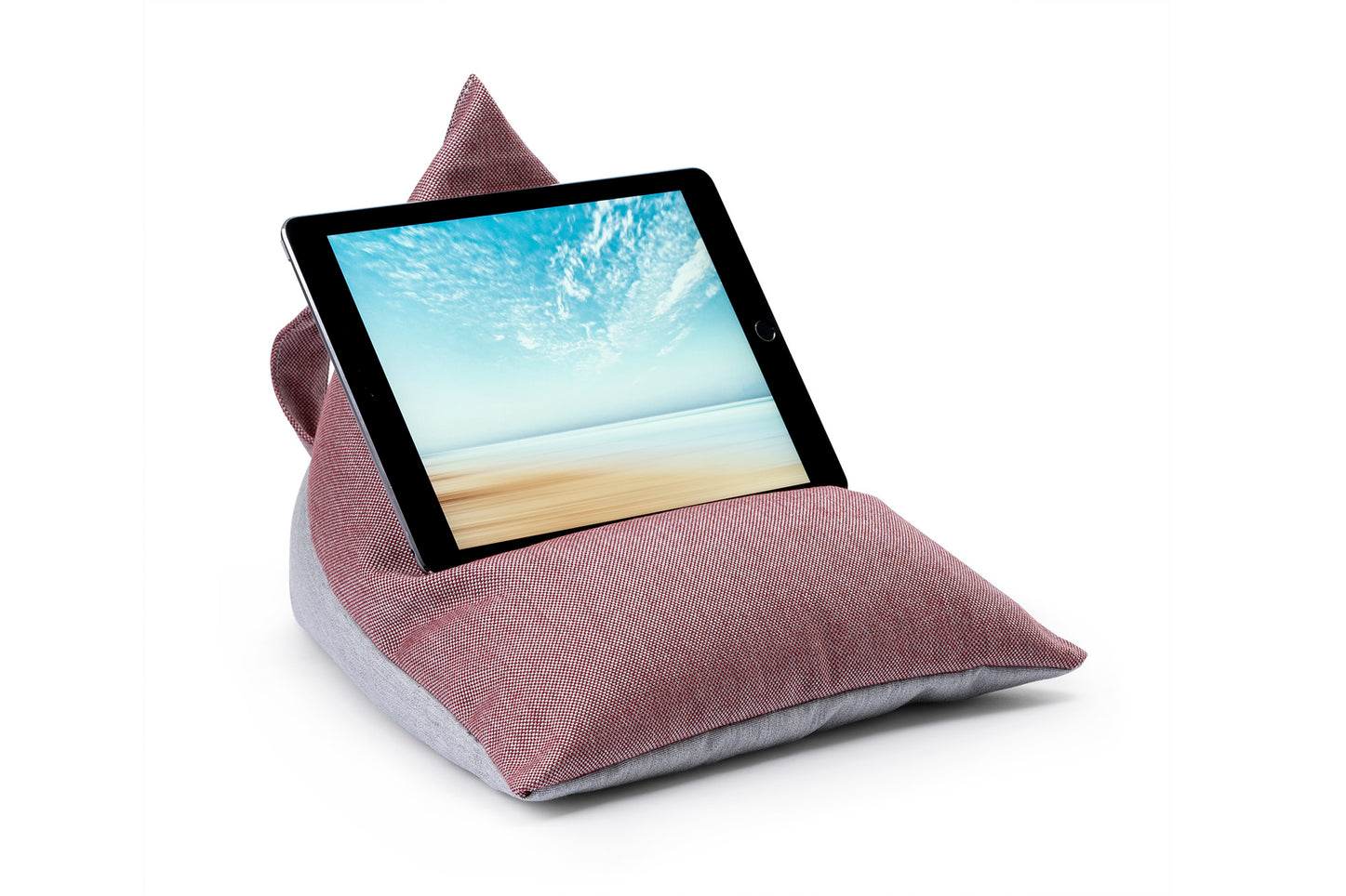 iPad, Tablet & eReader Bean Bag Stand in Cuba Ruby/Grey Base armadillosun
