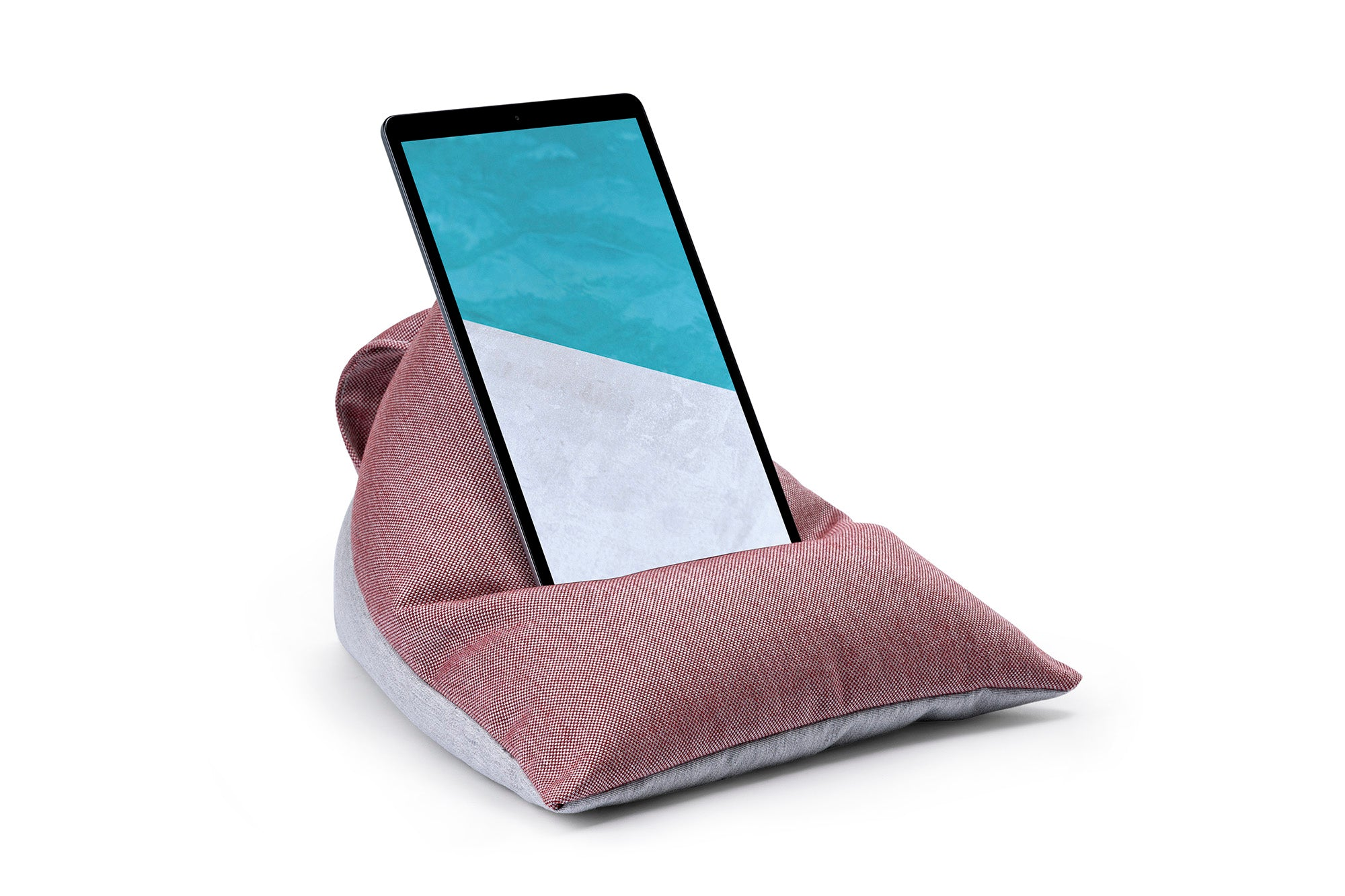 iPad, Tablet & eReader Bean Bag Stand in Cuba Ruby/Grey Base