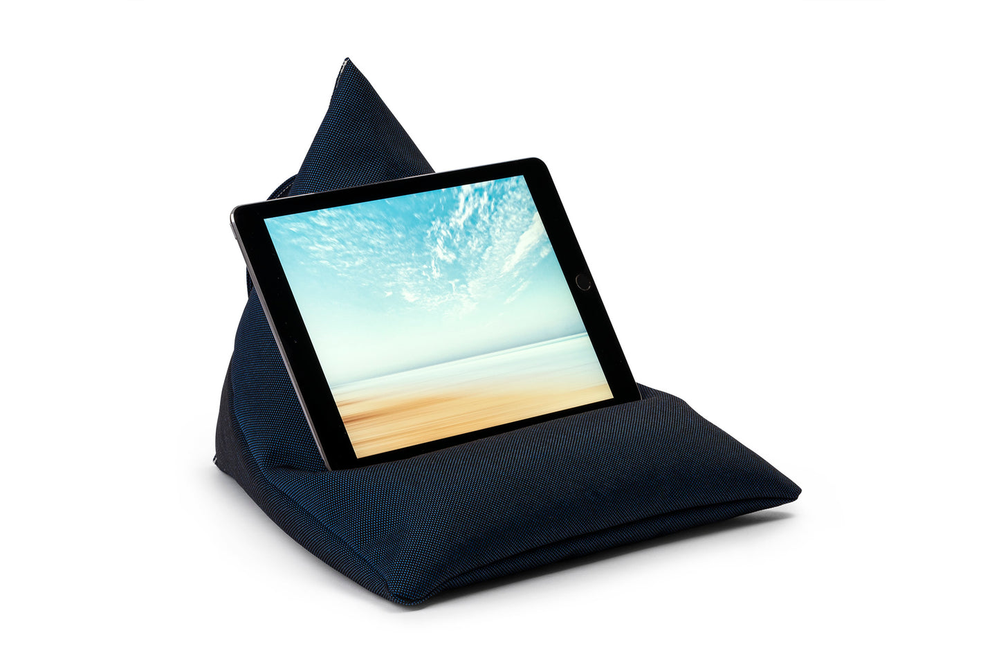 iPad, Tablet & eReader Bean Bag Stand in Plain Navy armadillosun