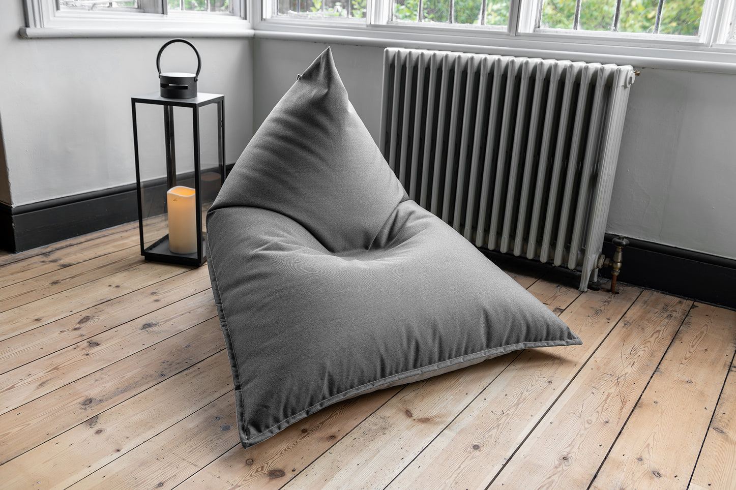 Adult Bean Bag Chair in Charcoal and Grey