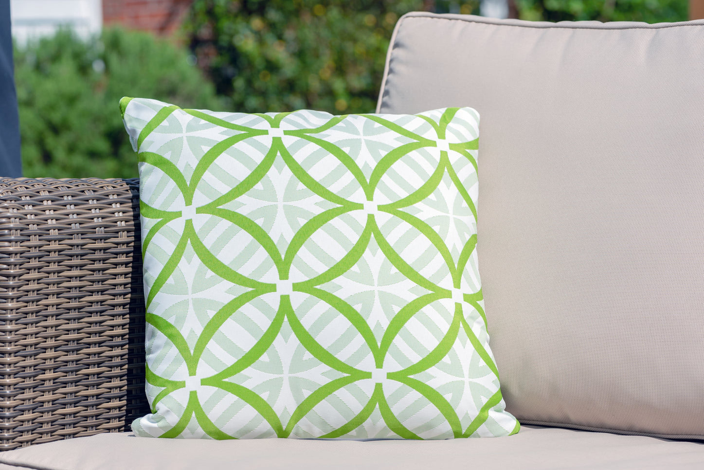Armadillo Sun waterproof luxury cushion in green and white pattern