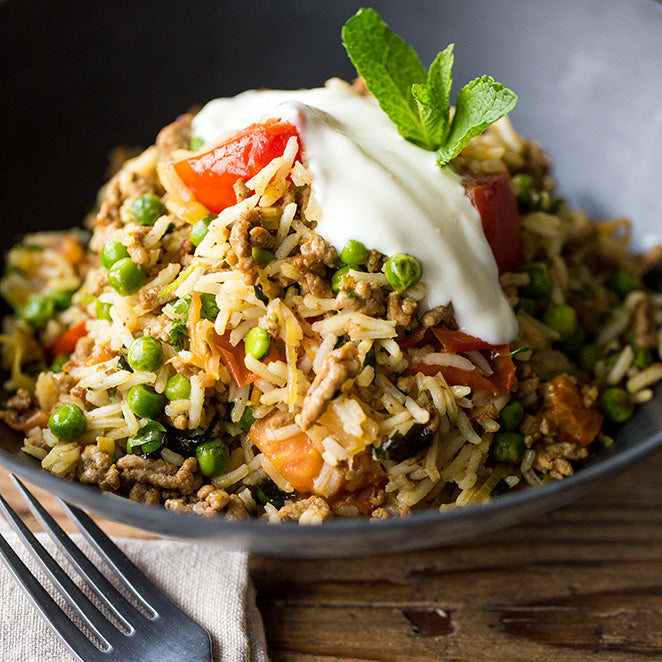 Spicy Soya Biryani with peas