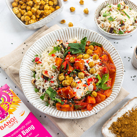 Bang Curry Sweet Potato and Spinach Curry with Crunchy Chickpeas Recipes