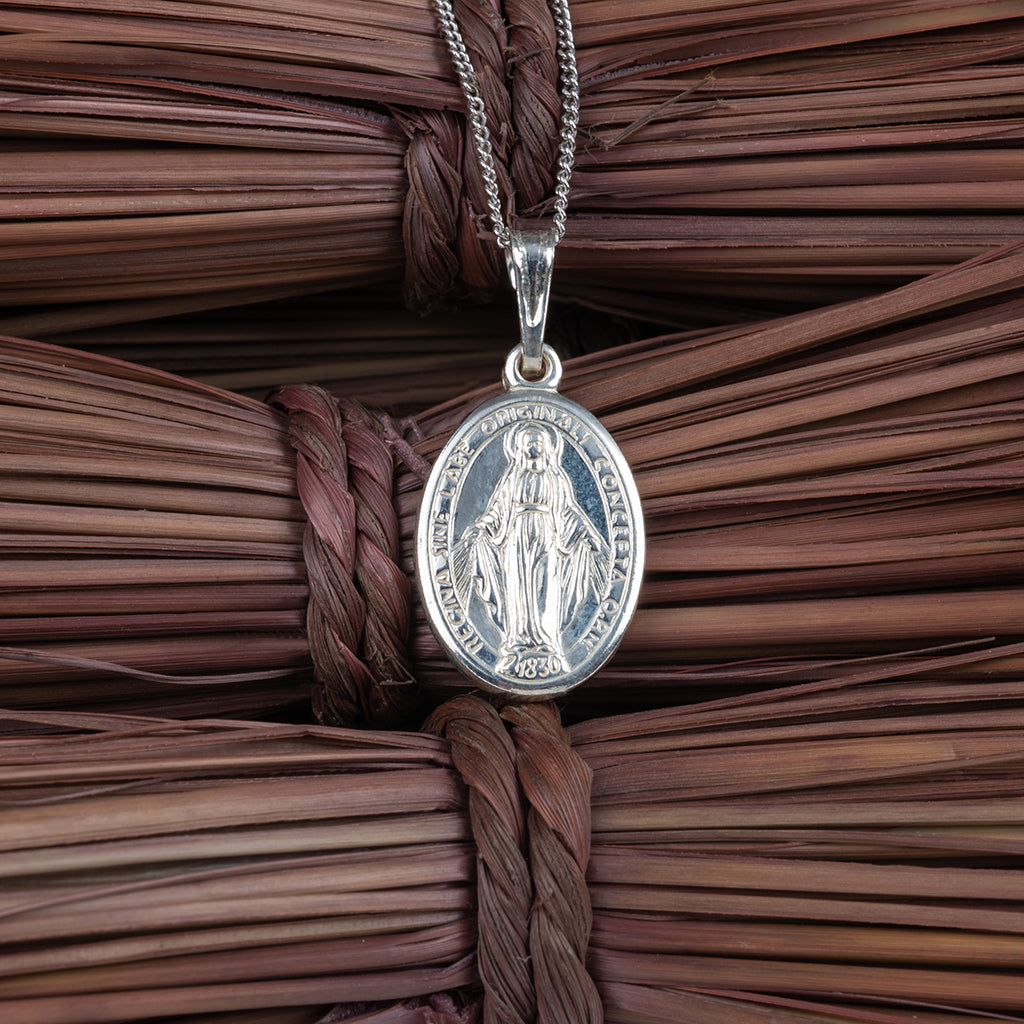 Silver Holy Mary Charm Pendant