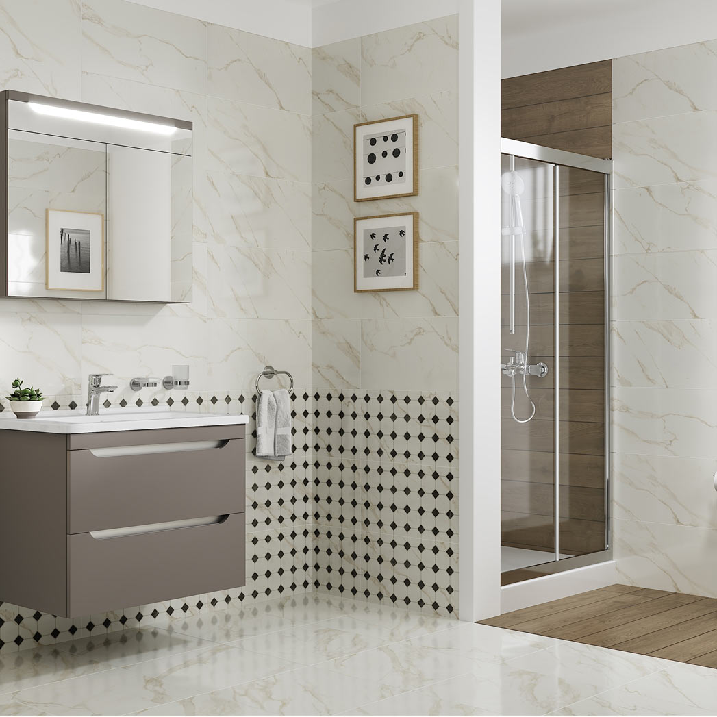 Ceramic and Porcelain tiles with marble effect printing
