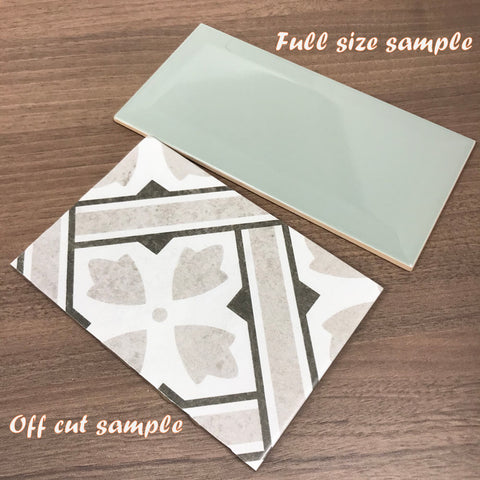 showing a full size and off cut tile sample examples