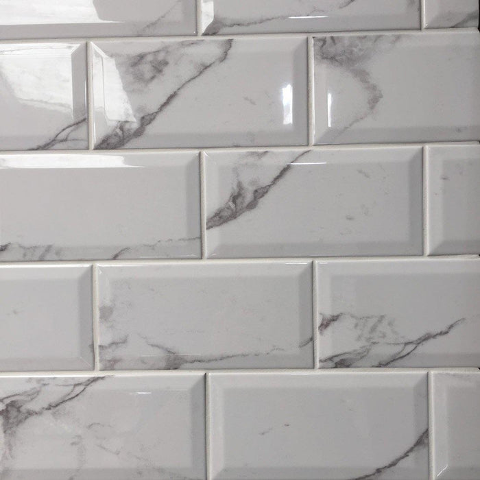 10x20cm Metro Carrara White Bevelled Brick wall tile-Salcamar Vilar-ceramicplanet.co.uk