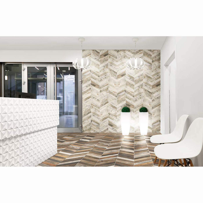 40x70cm Chevron Wood tile White-Realonda-ceramicplanet.co.uk