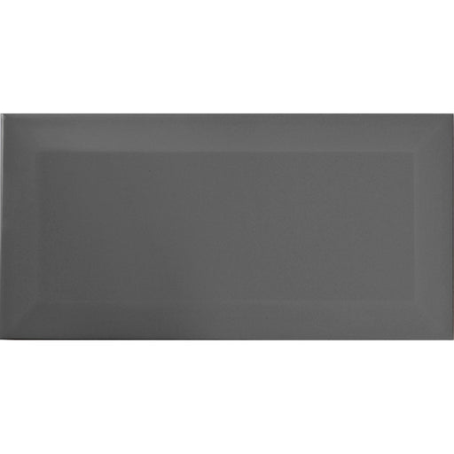 10x20cm Metro Dark Grey Gloss Bevelled Brick tile-Karo Metro Ceramics-ceramicplanet.co.uk