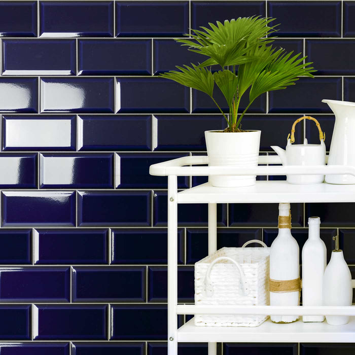 10x20cm Metro Victorian Blue Bevelled Brick wall tile-Fabresa-ceramicplanet.co.uk