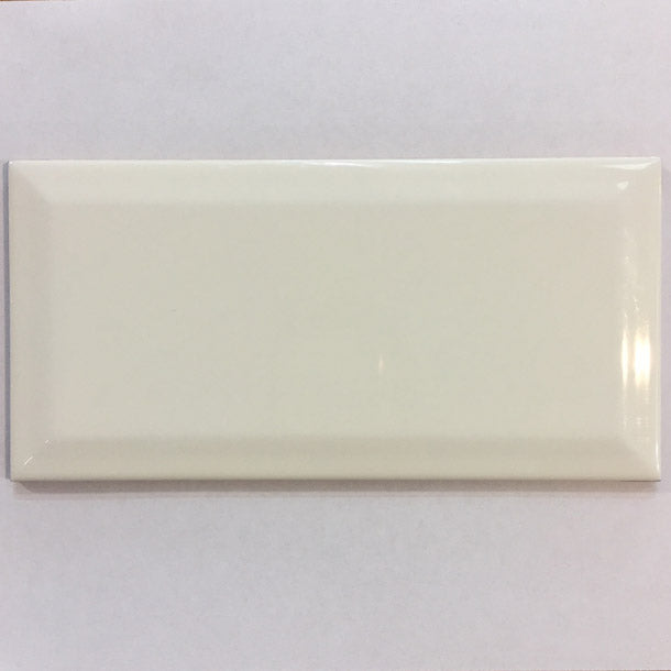 10x20cm Metro Cream Gloss Bevelled Brick wall tile-Karo Metro Ceramics-ceramicplanet.co.uk