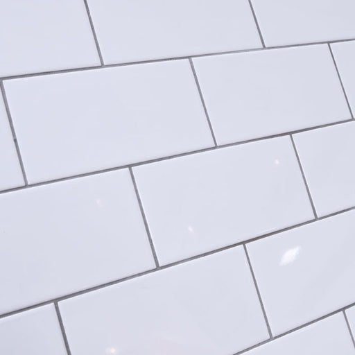 10x20cm Metro White Flat Smooth Brick Gloss tile-Karo Metro Ceramics-ceramicplanet.co.uk