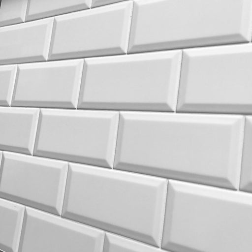 10x20cm Metro White Matt Bevelled Brick tile-Karo Metro Ceramics-ceramicplanet.co.uk