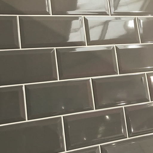 10x20cm Metro Dark Taupe Gloss Bevelled Brick tile-Karo Metro Ceramics-ceramicplanet.co.uk