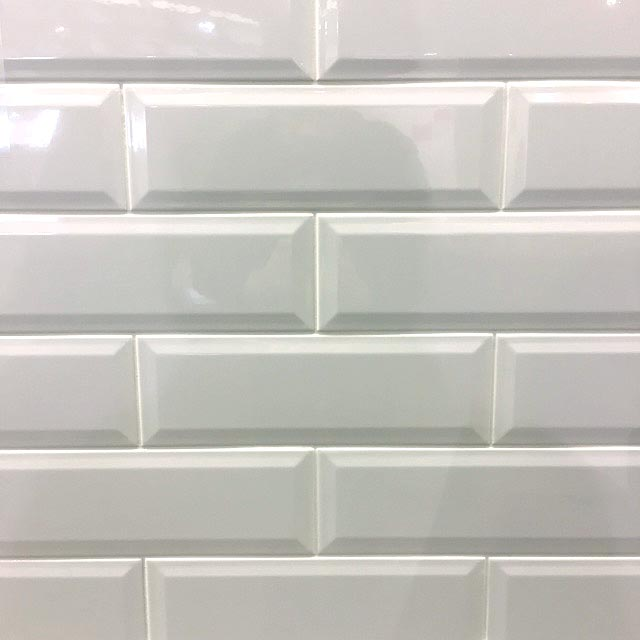 10x30cm Long Metro White Gloss Bevelled Brick tile-Karo Metro Ceramics-ceramicplanet.co.uk