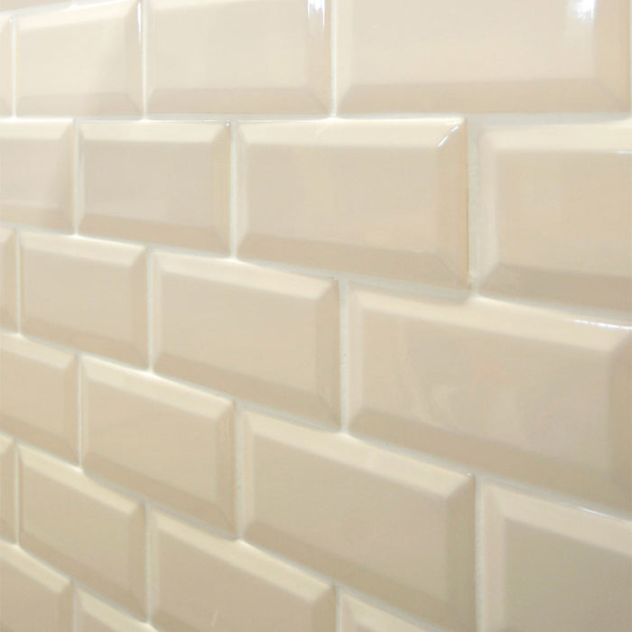 15x7.5cm Mini Metro Cream Bevel Brick wall tile-Karo Metro Ceramics-ceramicplanet.co.uk