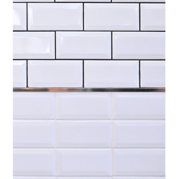 7.5x15cm Mini Metro White Bevel Brick wall tile-Karo Metro Ceramics-ceramicplanet.co.uk