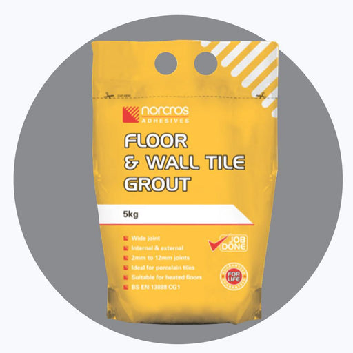 Norcros Floor & Wall Tile Grout Steel Grey (Light Grey) 5kg-Norcros-ceramicplanet.co.uk