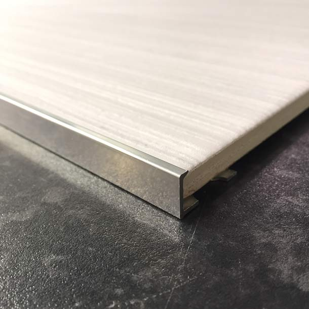 Chrome 8mm Straight L-shape Tile Trim edging-Alumacer-ceramicplanet.co.uk