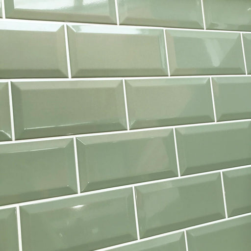 10x20cm Metro Sage Gloss Bevelled Brick wall tile-Karo Metro Ceramics-ceramicplanet.co.uk