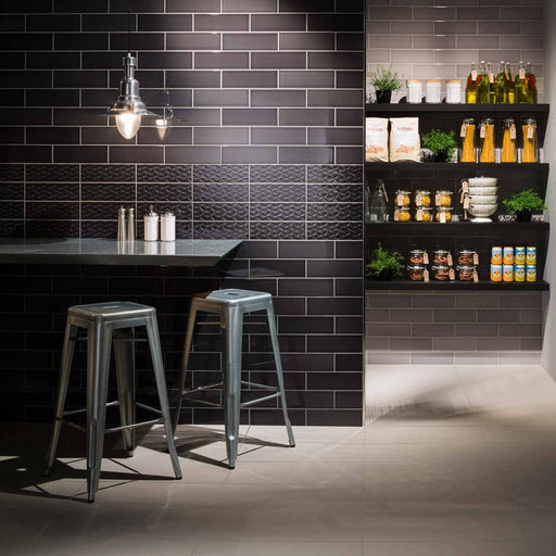 10x30cm Savoy Noir gloss wall tile-Johnson Tiles-ceramicplanet.co.uk