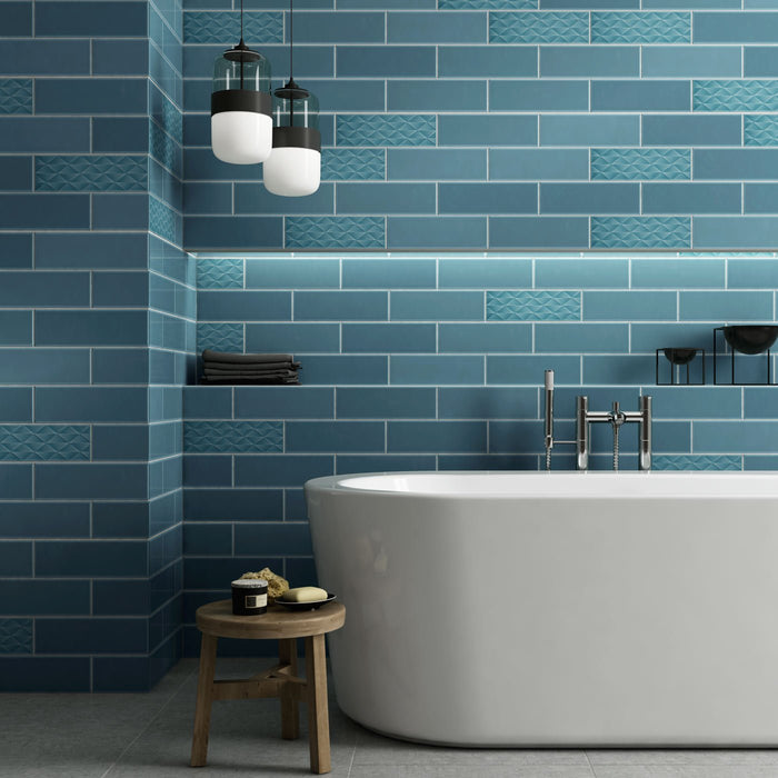 10x30cm Savoy Petrol gloss wall tile-Johnson Tiles-ceramicplanet.co.uk