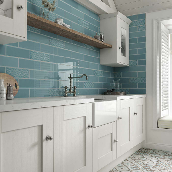 10x30cm Savoy Marine gloss decor wall tile-Johnson Tiles-ceramicplanet.co.uk