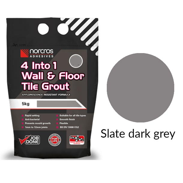 Norcros 4 into 1 Flexible Floor & Wall Grout SLATE DARK GREY-Norcros-ceramicplanet.co.uk