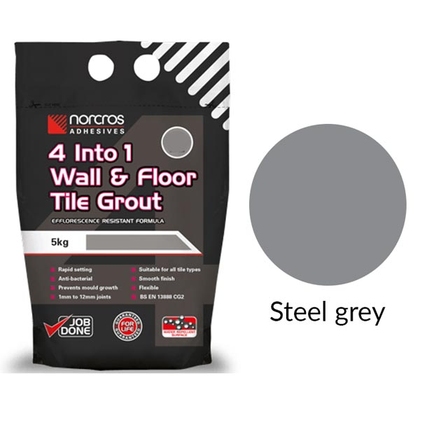 Norcros 4 into 1 Flexible Floor & Wall Grout STEEL GREY-Norcros-ceramicplanet.co.uk