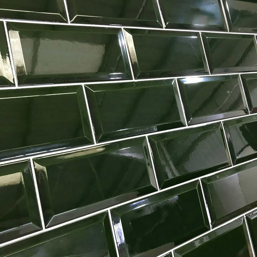 10x20cm Metro Victorian Green Bevelled Brick wall tile-Fabresa-ceramicplanet.co.uk