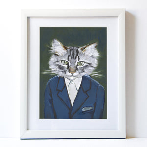 Signed Fine Art Print - Alan - Cats In Clothes - Paintings by Heather Mattoon