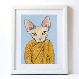 Signed Fine Art Print -Benjamin - Cats In Clothes - Paintings by Heather Mattoon