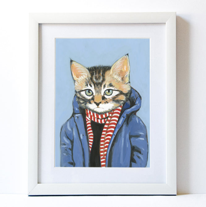 Signed Fine Art Print - Brewster - Cats In Clothes - Paintings by Heather Mattoon