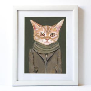 Signed Fine Art Print - Cooper - Cats In Clothes - Paintings by Heather Mattoon