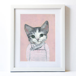 Signed Fine Art Print - Elise - Cats In Clothes - Paintings by Heather Mattoon