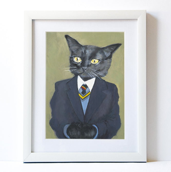 Signed Fine Art Print - George - Cats In Clothes - Paintings by Heather Mattoon
