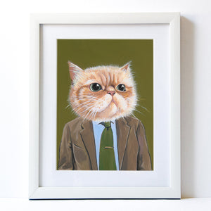 Signed Fine Art Print - Harold - Cats In Clothes - Paintings by Heather Mattoon