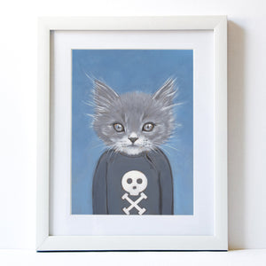 Signed Fine Art Print - Henry - Cats In Clothes - Paintings by Heather Mattoon