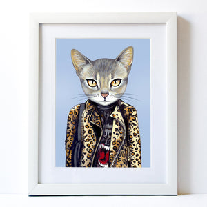 Signed Fine Art Print - Kat - Cats In Clothes - Paintings by Heather Mattoon