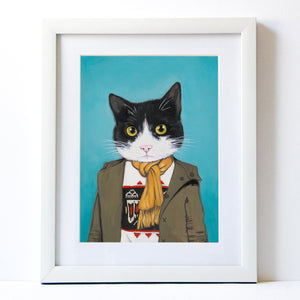 Signed Fine Art Print - Lupe - Cats In Clothes - Paintings by Heather Mattoon