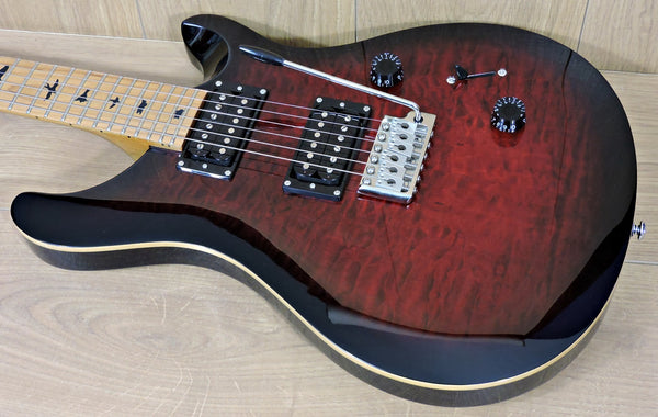 PRS SE Custom 24 Roasted Maple Limited Edition Fire Red Burst Quilt