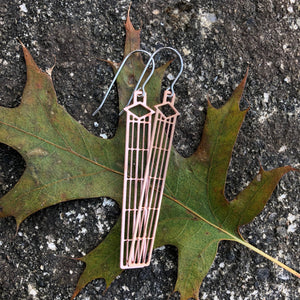 Graycliff Copper Diamond Window Long Earrings