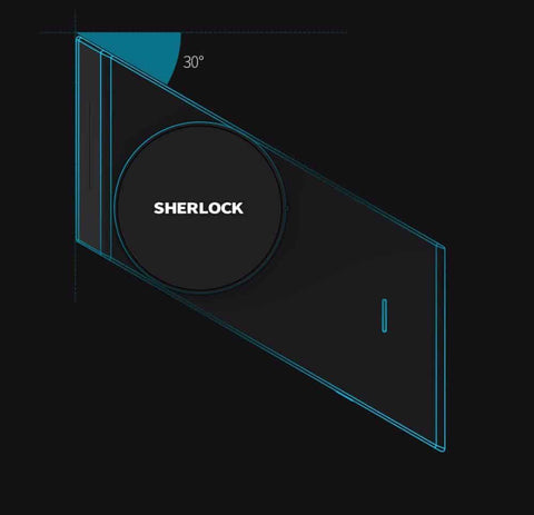 Duesgo-Sherlock Smart Lock M1 App Control Indoor Touchable 3M Glue Built-in MJSC Chips App Virtual Key 3800mAh Li Battery -Right and Left Hand Door-30 degree angle view